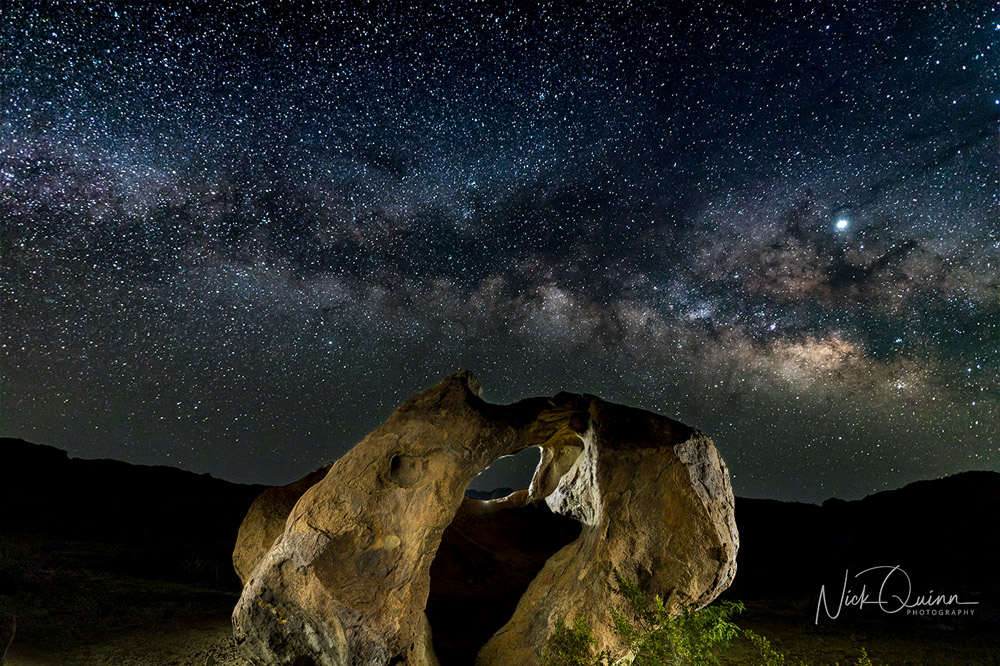 Indian Head Stone with Milky Way behind it