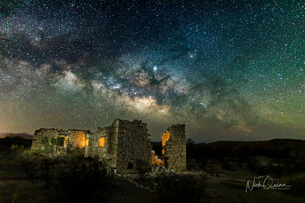 Old Mining stone ruins with Milky way behind it.