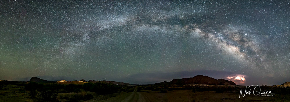 Pano of entire Milky Way with lightning in the Chisos Mountains near Terlingua Texas