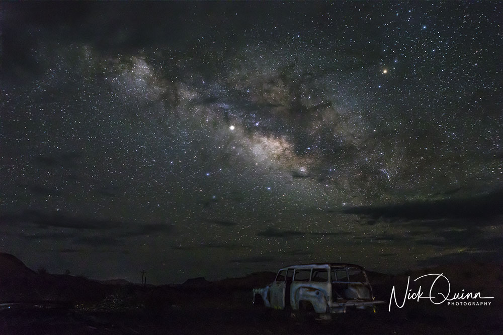 Abandoned Car wqith Milky Way in the background